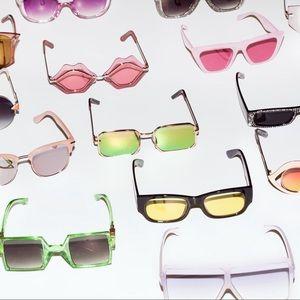 Accessories - Retro 70s Blue Ombré Metal Frame Sunglasses